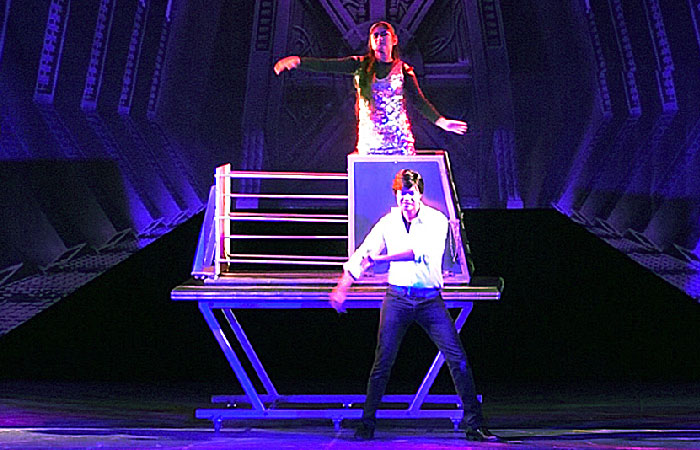 Illusionist in India Sourav Burman performing the Spiker Illusion