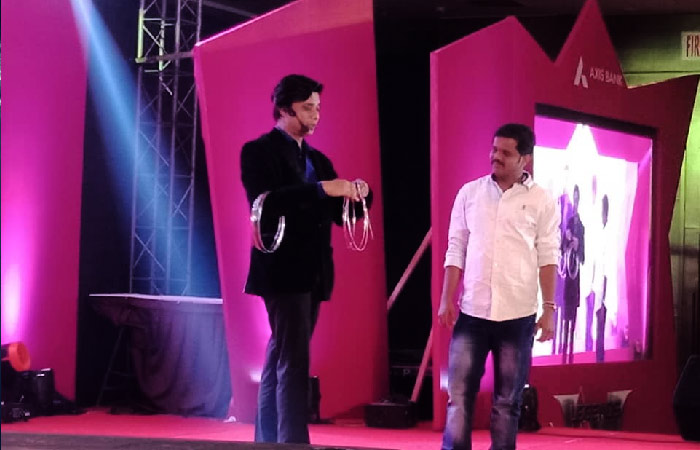Top corporate entertainer in India Sourav Burman performing for Axis Bank in Kolkata