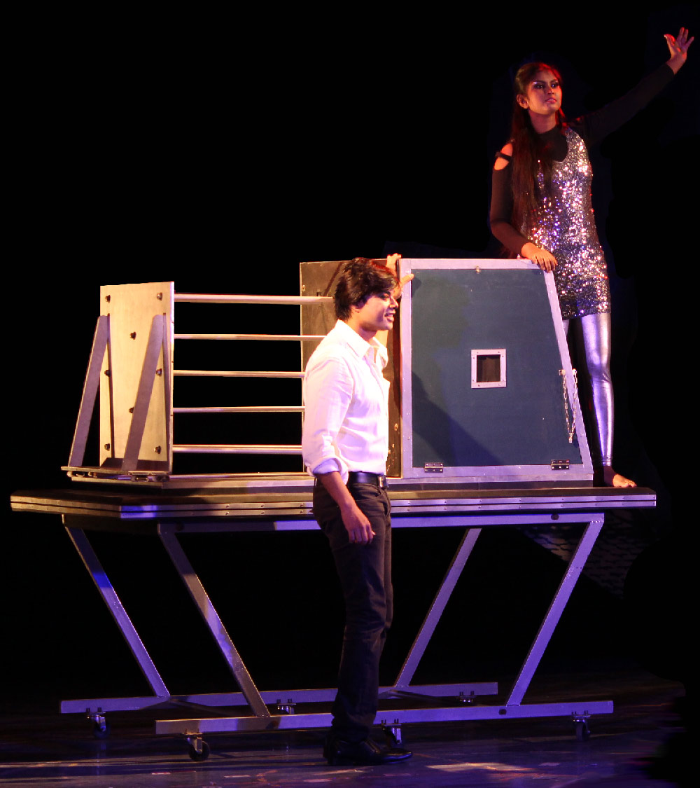 Illusionist Mentalist Magician in India Sourav Burman performing The Spiker Illusion
